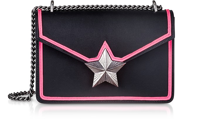 Black & Neon Pink Leather New Vega Trim Shoulder Bag - Les Jeunes Etoiles