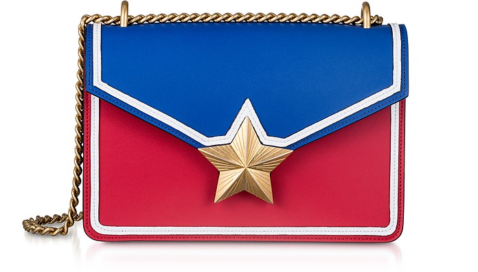 Blue & Red Leather New Vega Trim Shoulder Bag - Les Jeunes Etoiles