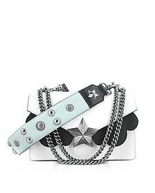 White, Black and Light Blue Leather Vega Medium Shoulder Bag - Les Jeunes Etoiles