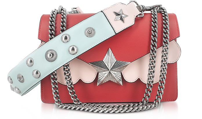 Red, Pink and Light Blue Leather Vega Medium Shoulder Bag - Les Jeunes Etoiles