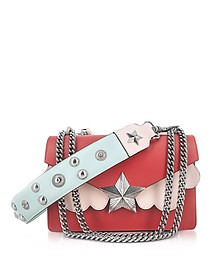 Red, Pink and Light Blue Leather Vega Medium Shoulder Bag - Les Jeunes Etoiles