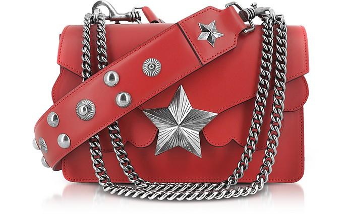Red Leather Vega Medium Shoulder Bag - Les Jeunes Etoiles