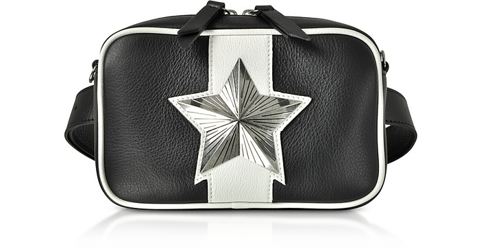 Black and White Leather Vega Belt Bag w/Chain Strap - Les Jeunes Etoiles