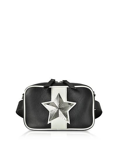 Black and White Leather Vega Belt Bag w/Chain Strap - Les Jeunes Etoiles