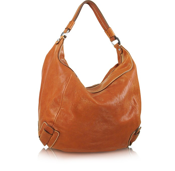 b14d920158c662 Luana Daniela - Natural Brown Washed Leather Hobo Bag at FORZIERI UK