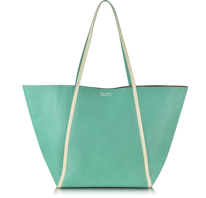 PALE YELLOW AYERS AND GREEN CALF LEATHER TOTE
