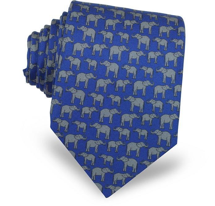 Elephants Print Silk Tie - Laura Biagiotti