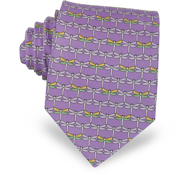 Purple Dragonflies Print Twill Silk Tie - Laura Biagiotti