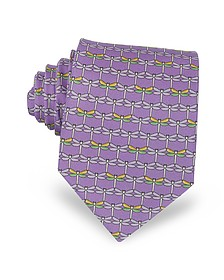 Purple Dragonflies Print Twill Silk Tie - Laura Biagiotti