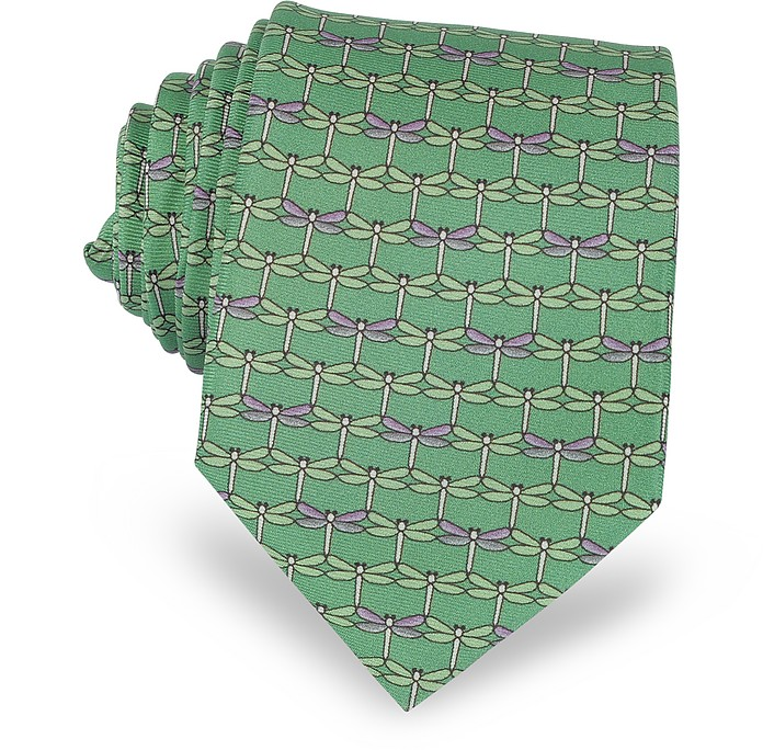 Green Dragonflies Print Twill Silk Tie  - Laura Biagiotti