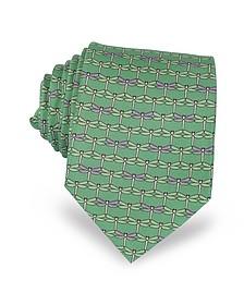 Corbata de Seda Verde con Estampado de Libélulas - Laura Biagiotti