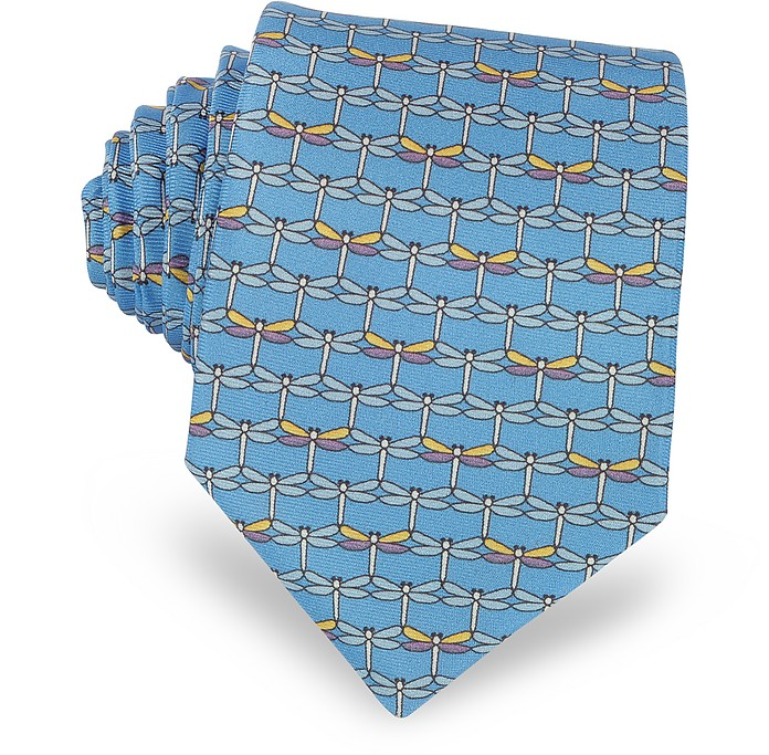 Dragonflies Krawatte aus bedruckter Twill-Seide in hellblau - Laura Biagiotti