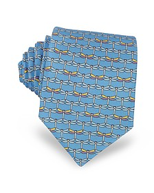 Light Blue Dragonflies Print Twill Silk Tie  - Laura Biagiotti