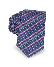 Navy Blue and Pink Diagonal Stripe Woven Silk Extra-Narrow Tie  - Laura Biagiotti