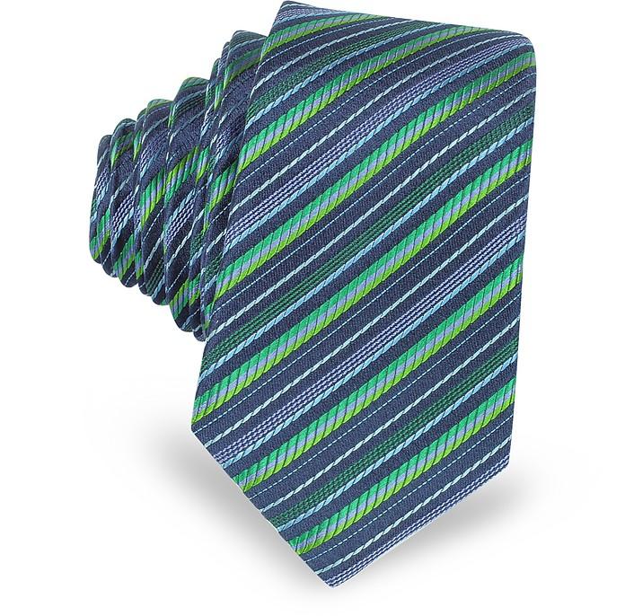 Cravate Extra Fine en Soie Bleu Marine et Verte à Rayures Diagonales - Laura Biagiotti