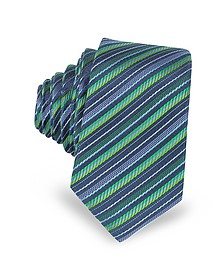 Navy Blue and Green Diagonal Stripe Woven Silk Extra-Narrow Tie - Laura Biagiotti