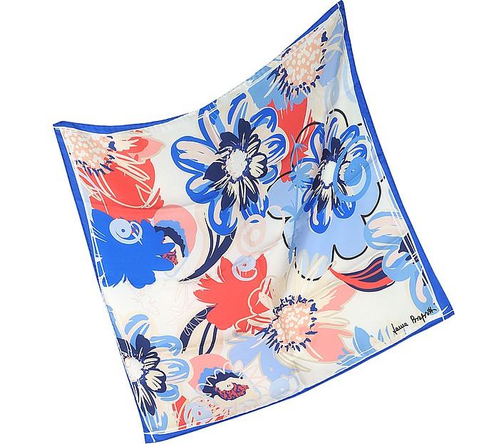 Floral Print Twill Silk Bandana - Laura Biagiotti