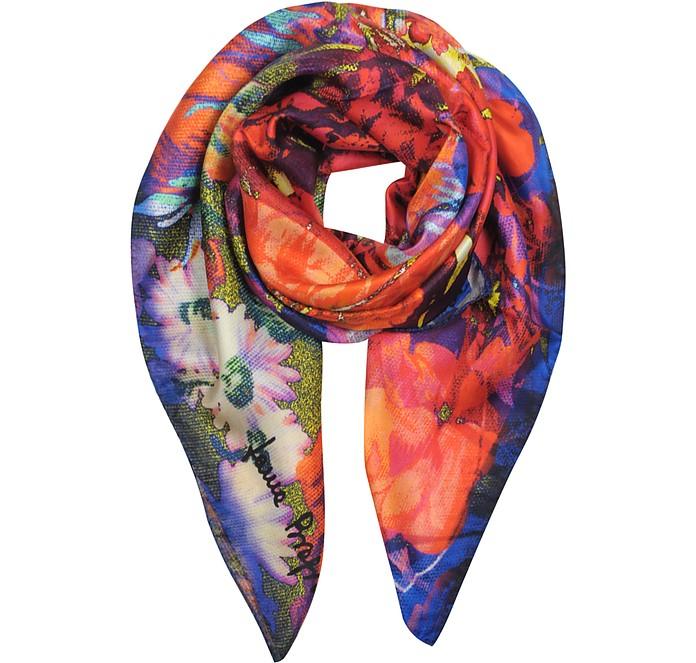 Floral Pixel Print Twill Silk Square Scarf - Laura Biagiotti