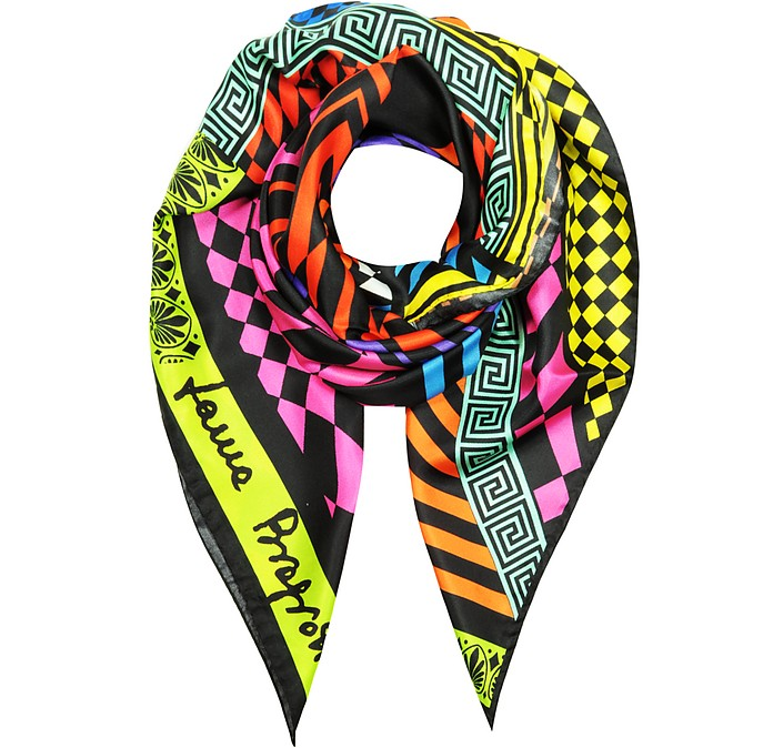 Optical Print Twill Silk Square Scarf - Laura Biagiotti