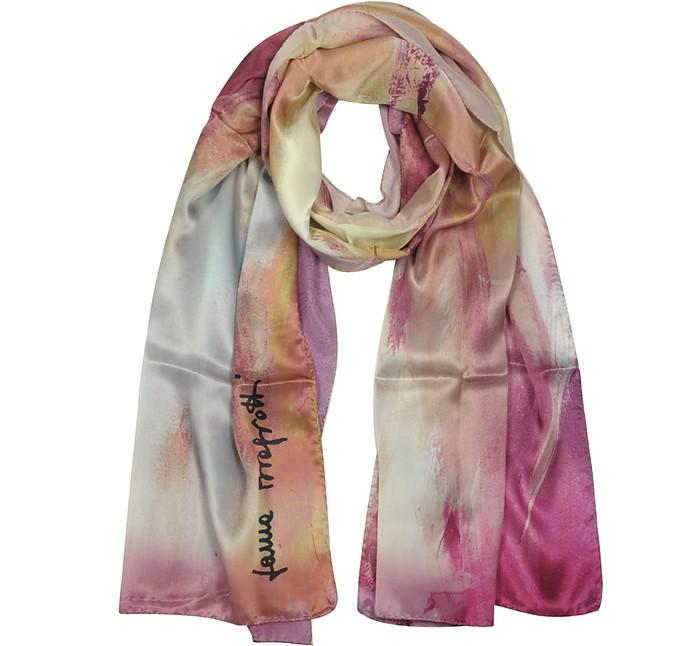 Gradient Pink Print Twill Silk Stole - Laura Biagiotti
