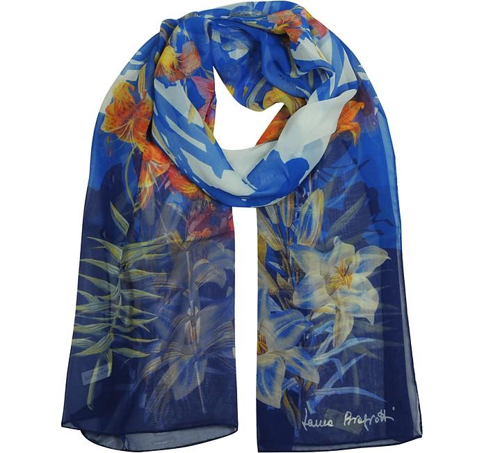 Blue Floral Pink Chiffon Silk Stole - Laura Biagiotti