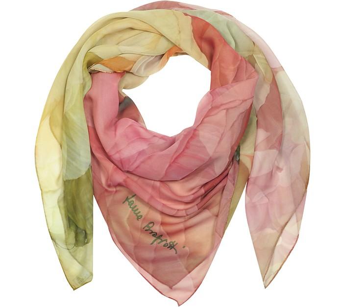 Pink Floral Print Chiffon Silk Wrap - Laura Biagiotti