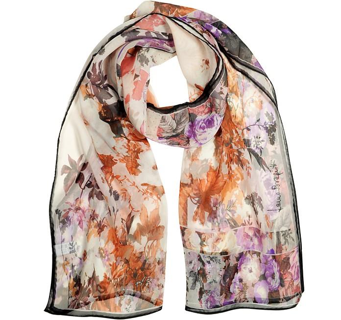 Peony Print Chiffon Silk Stole - Laura Biagiotti