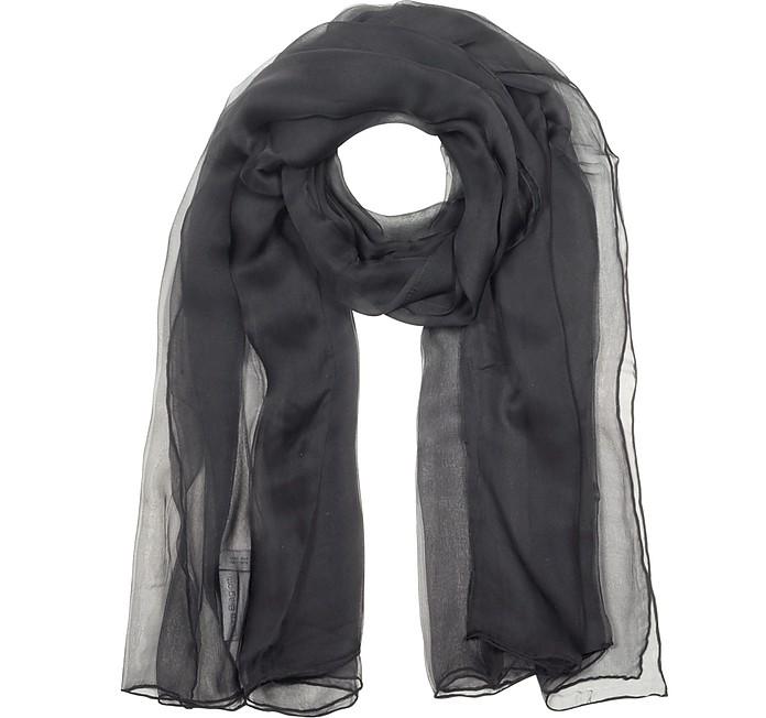 Black Double Chiffon Silk Stole - Laura Biagiotti