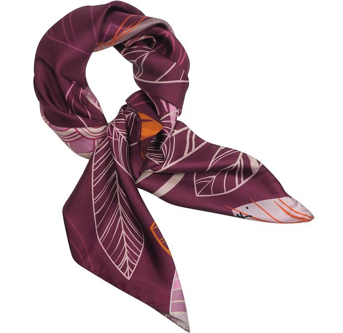 Purple and Pink Leaf Printed Twill Silk 90x90 Square Scarf - Laura Biagiotti