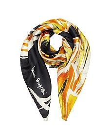 Abstract Floral Print Twill Silk Square Scarf - Laura Biagiotti