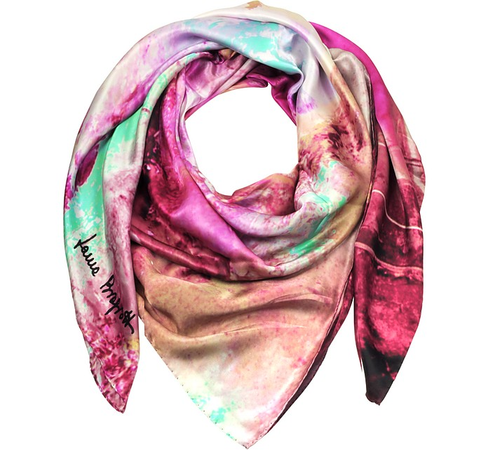 Multicolor Printed Twill Silk Oversized Scarf - Laura Biagiotti / ラウラ ビアジョッティ