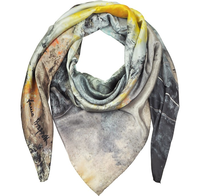 Multicolor Printed Twill Silk Oversized Scarf - Laura Biagiotti