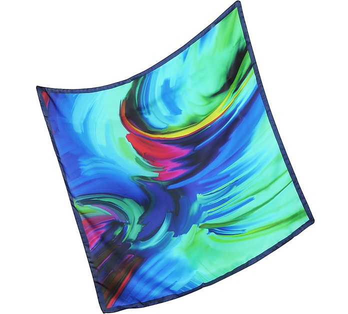 Waves Printed Twill Silk Bandana - Laura Biagiotti