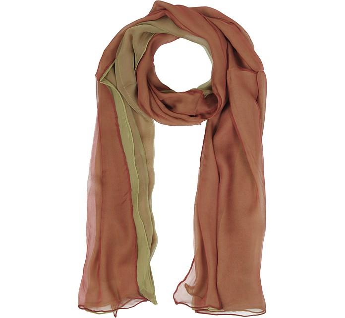 Gradient Burgundy/Light Green Silk Long Scarf - Laura Biagiotti