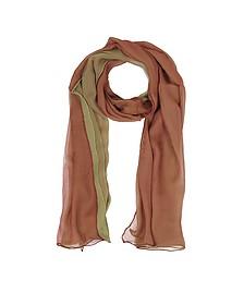 Langer Schal aus Seide in burgund und hellgrün - Laura Biagiotti