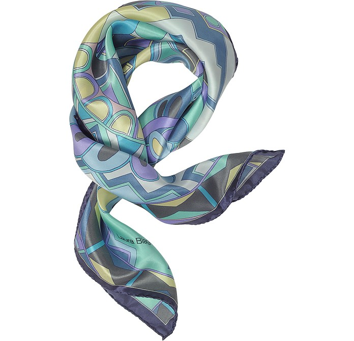 Purple and Blue Floral & Geometric Print Satin Silk Bandana - Laura Biagiotti