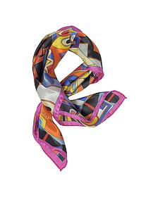 Pink and Multicolor Floral & Geometric Print Satin Silk Bandana - Laura Biagiotti