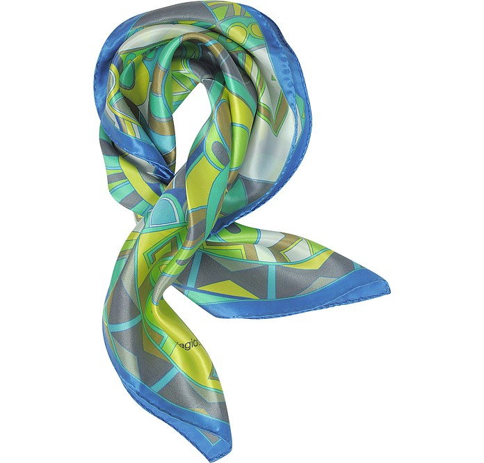 Blue and Green Floral & Geometric Print Satin Silk Bandana - Laura Biagiotti / ラウラ ビアジョッティ