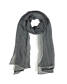 Black and White Double Chiffon Silk Stole - Laura Biagiotti