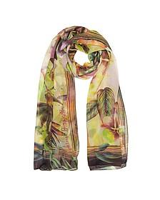 Burgundy Tropical Printed Chiffon Silk Stole - Laura Biagiotti