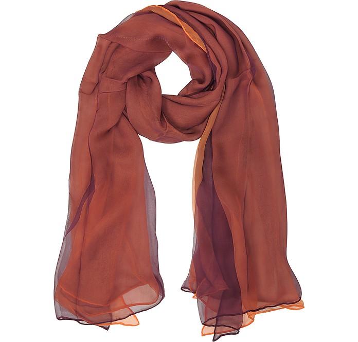Burgundy and Orange Double Chiffon Silk Stole - Laura Biagiotti