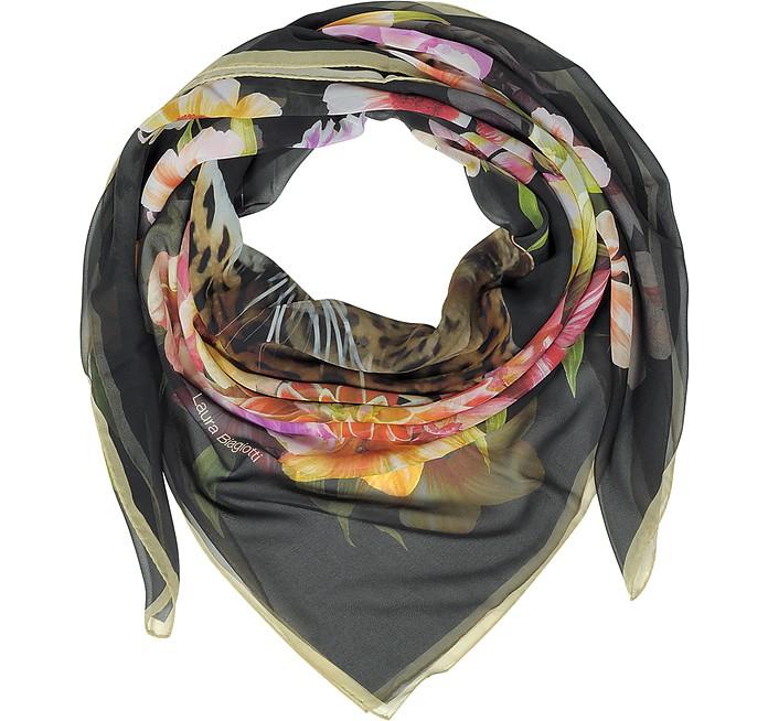 Black Leopard and Flowers Print Silk Shawl - Laura Biagiotti