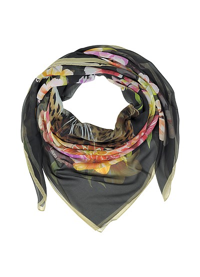 Black Leopard and Flowers Print Silk Shawl - Laura Biagiotti