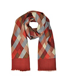 Diamond Printed Wool, Silk and Cashmere Long Scarf - Laura Biagiotti