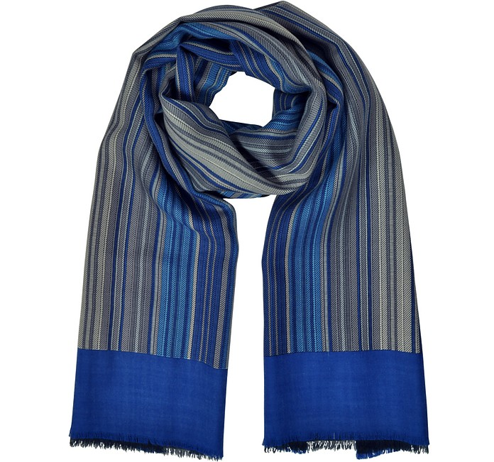 Stripes Printed Wool, Silk and Cashmere Long Scarf - Laura Biagiotti