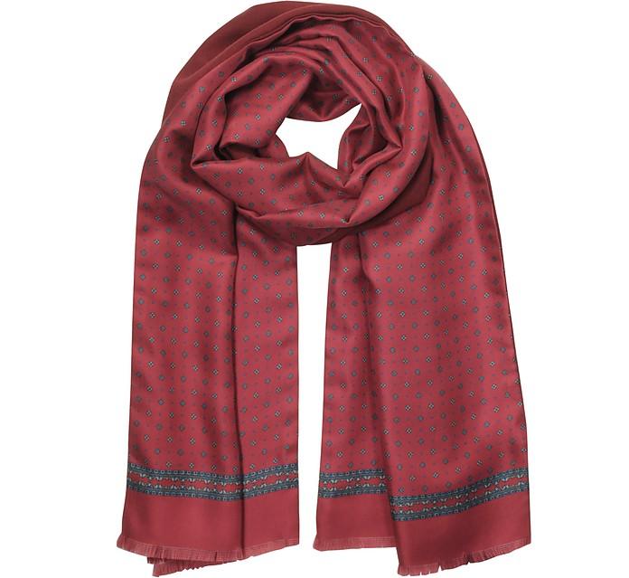 Burgundy Printed Silk and Wool Reverisble Men's Scarf w/Fringes - Laura Biagiotti