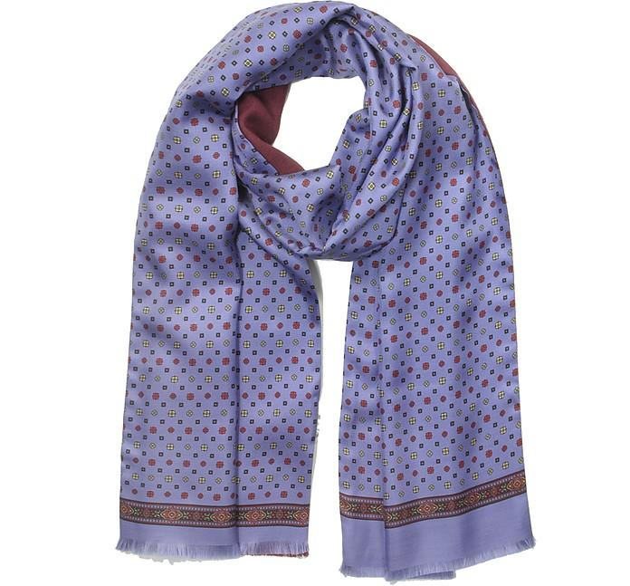Violet Printed Silk and Burgundy Wool Men's Reversible Scarf w/Fringes - Laura Biagiotti