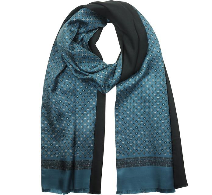 Petrol Blue Printed Silk and Black Wool Men's Reversible Scarf w/Fringes - Laura Biagiotti