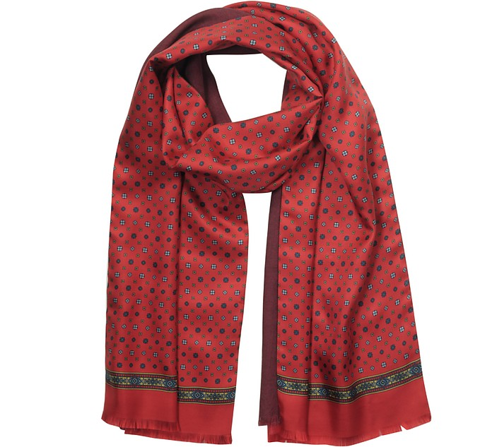 Bright Red Printed Silk and Burgundy Wool Men's Reversible Scarf w/Fringes - Laura Biagiotti