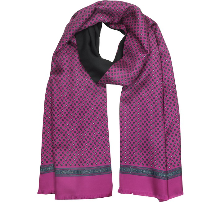 Fuchsia Paisley Print Silk and Black Wool Men's Reversible Scarf w/Fringes - Laura Biagiotti